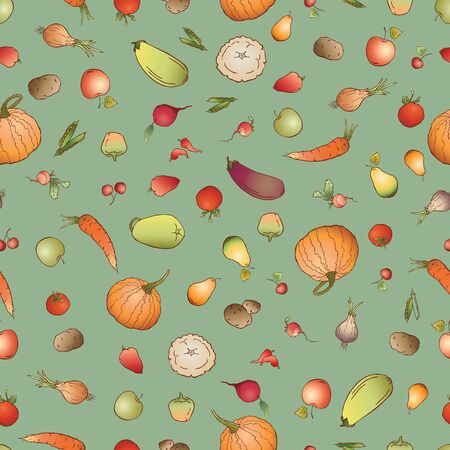 Seamless pattern of various ripe vegetables and fruit 写真素材 - 133483386