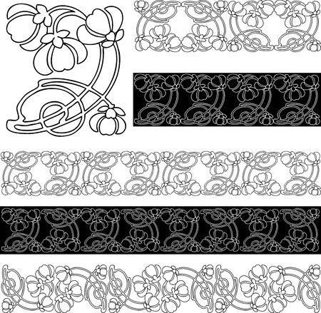 Vector image of decorative floral borders from vintage stylized flower 向量圖像