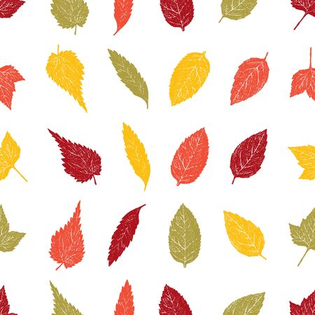 Seamless background of drawn autumn leaves  イラスト・ベクター素材