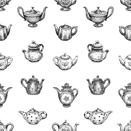 Seamless background of sketches of various teapots  イラスト・ベクター素材