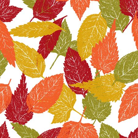 Seamless pattern of autumn trees leaves