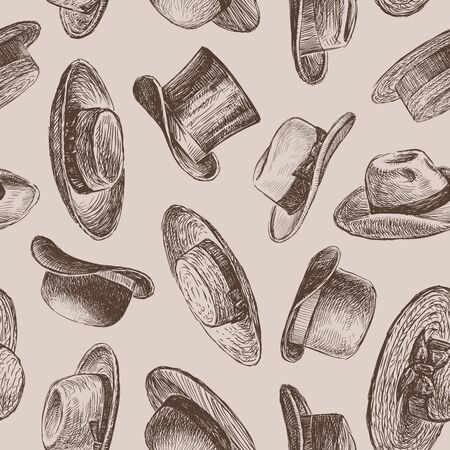Seamless pattern of sketches of different vintage hats