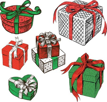 Sketches of various christmas gifts boxes