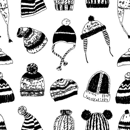 Seamless pattern of various knitted wool caps  イラスト・ベクター素材