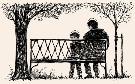 Sketch of  father with his little son sitting on park bench while walking Ilustração