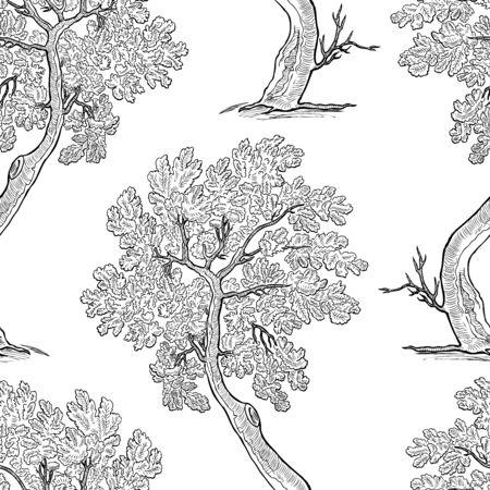 Seamless pattern of decorative oak tree sketches Illustration