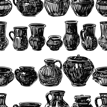 Seamless pattern of sketches of various clayware