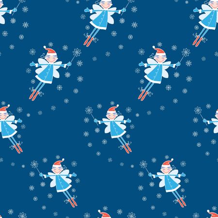 Seamless pattern of cheerful flying winter elf girl with magic wand  イラスト・ベクター素材