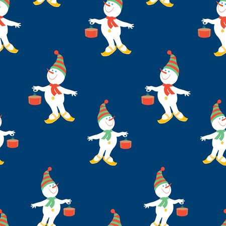 Seamless pattern of christmas cheerful snowmen with gifts  イラスト・ベクター素材