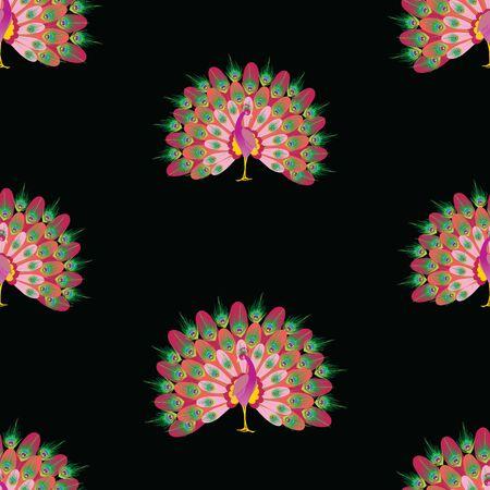 Seamless pattern of decorative cartoon peacocks