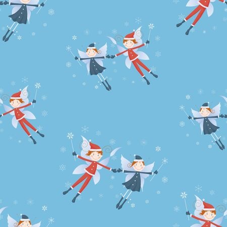 Seamless pattern of flying couples of cheerful christmas elves