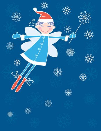 Vector card with cheerful flying elf girl with magic  wand in december 写真素材 - 133483475