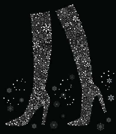 Vector card with winter female boots from decorative snowflakes  イラスト・ベクター素材