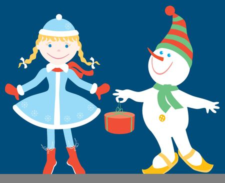 Vector image of cheerful cartoon Snow maiden and snowman with gift