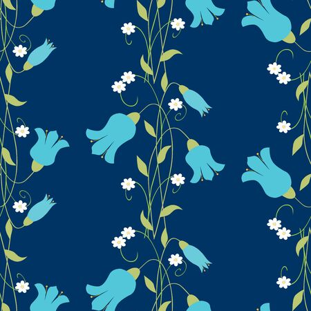 Seamless pattern of bells and daisies bunches