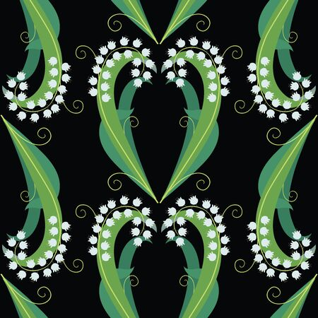 Seamless pattern of decorative lilies of valley with green leaves and tendrils Illustration