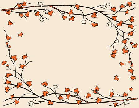 Vector card with decorative floral frame from maple branches with fall leaves