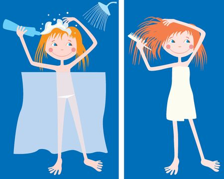 Vector drawing of a cheerful cartoon teen girl  taking a shower and combing hair after bathing