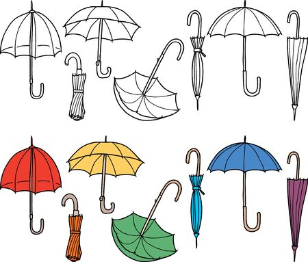 Vector drawings of various umbrellas
