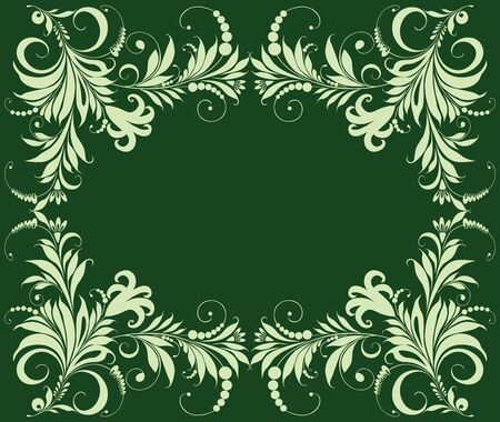 Vector green greeting card with decorative floral frame Ilustrace