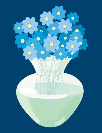 Vector image of bouquet forget-me-nots in glass vase