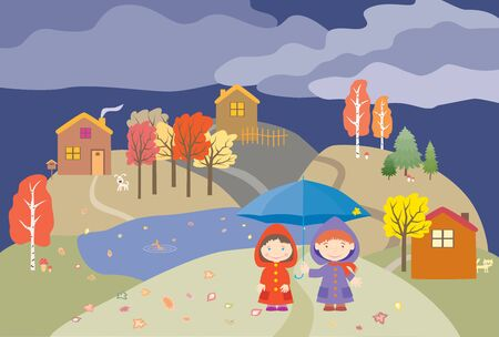 Vector image of cheerful children under umbrella strolling in their village on autumn rainy day Ilustrace