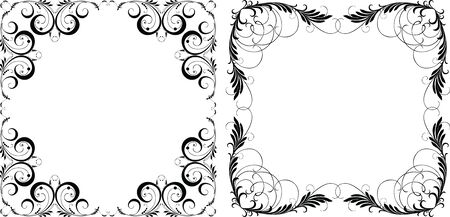 Vector image of decorative floral frames