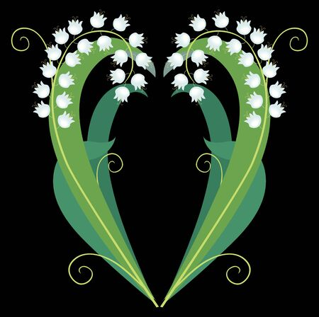 Vector image of decorative lilies of valley in heart shape