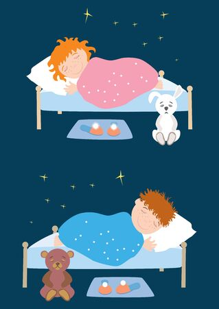 Vector image of happy sleeping children Ilustrace