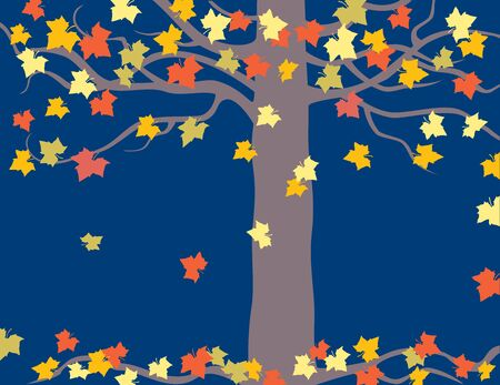 Vector image of maple tree with falling autumn leaves