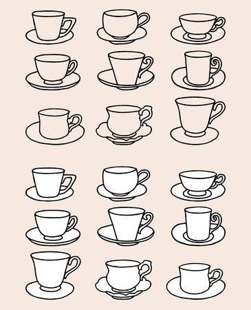 Vector image of set various outlines tea cups with saucers