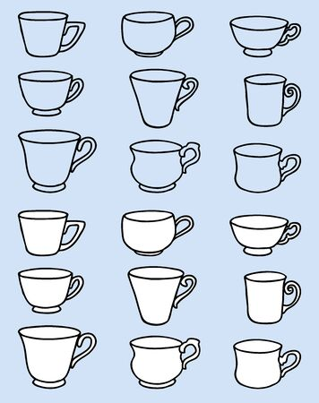 Vector image of set various outlines tea cups Ilustrace