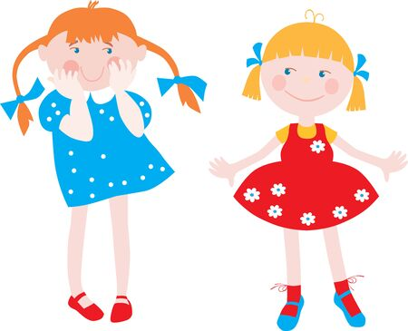 Vector image of two little funny girls