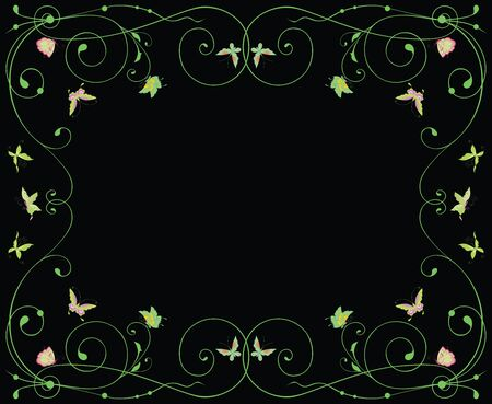 Decorative vector frame with floral tendrils and flying butterflies