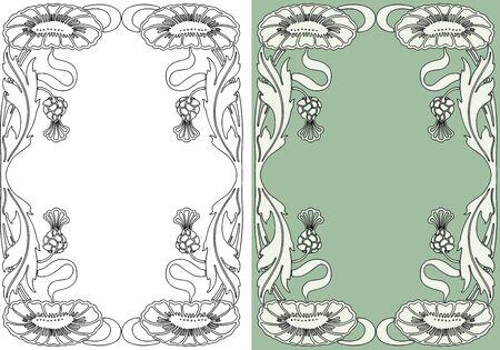 Decorative vintage floral frame in art nouveau style  Stock Illustratie