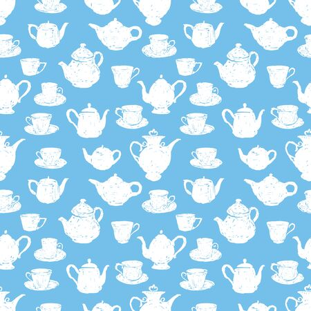 Seamless background of sketches tea cups and teapots Ilustrace