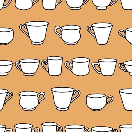 Seamless background of various drawn tea cups Ilustrace