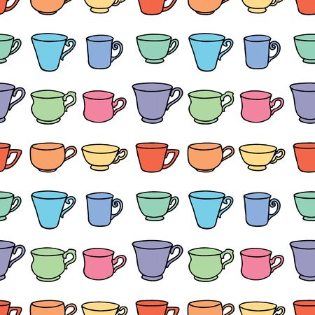 Seamless pattern of set various colrful tea cups Ilustrace