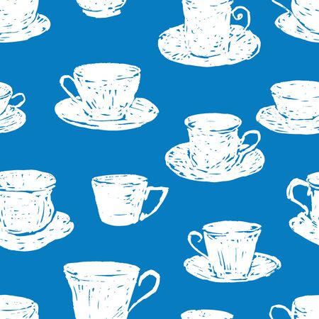 Seamless pattern of silhouettes drawn tea cups