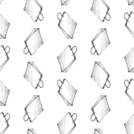 Seamless pattern of sketches bags for purchases