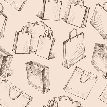Seamless pattern of sketches of bags for purchases
