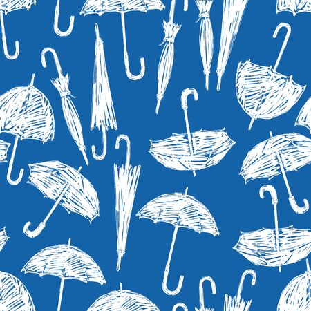 Seamless pattern of umbrellas sketches