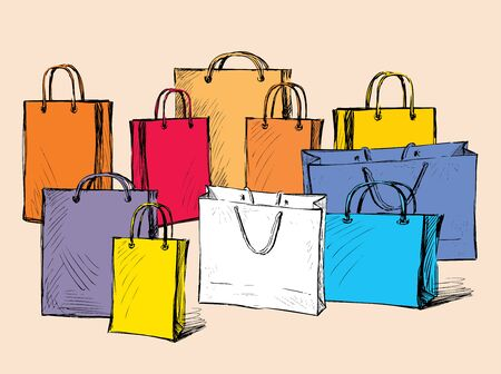Vector image of drawn colorful shopping bags. All objects isolated.