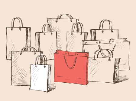 Vector image of shopping bags sketches. All objects isolated.  イラスト・ベクター素材