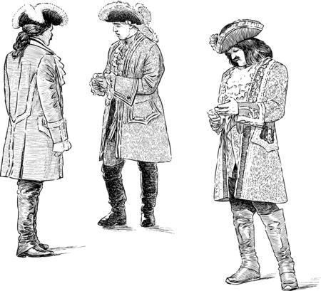 Sketches of gentelmen in vintage costumes of 18th century