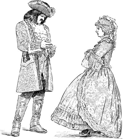 Sketches of lady and gentlemen in luxury historical costumes standing and conversating 矢量图片