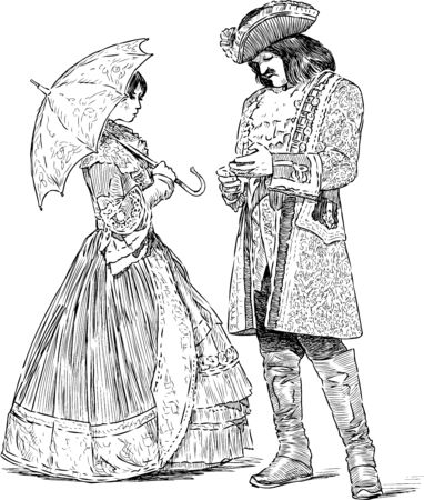 Sketches of noble couple in luxury historical costumes standing and talking