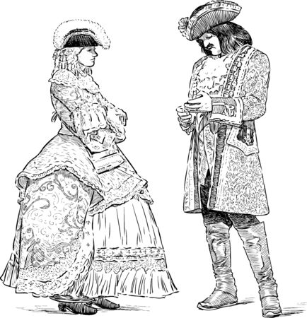 Sketches of noble people in luxury costumes standing and talking Ilustracja