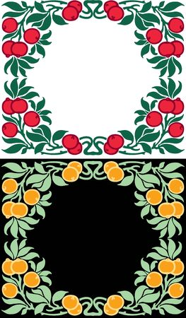 Vector floral frames of branches with ripe fruit and berries  イラスト・ベクター素材