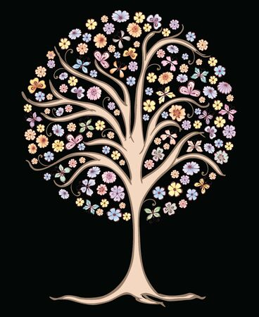 Vector image of blossoming tree with flowers and butterflies 向量圖像